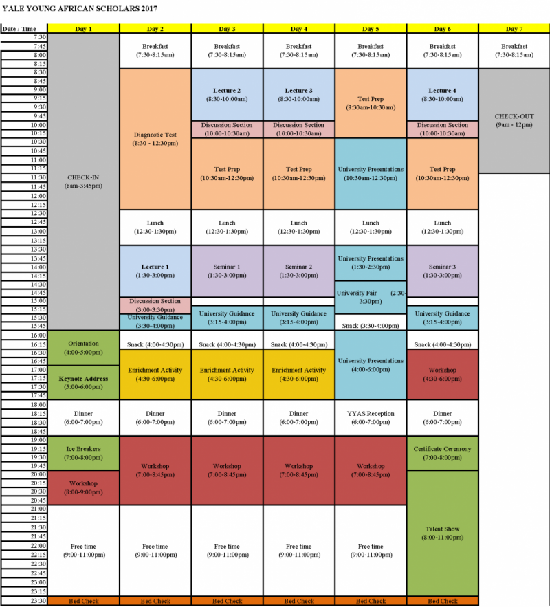 Sample Schedule | Yale Young African Scholars